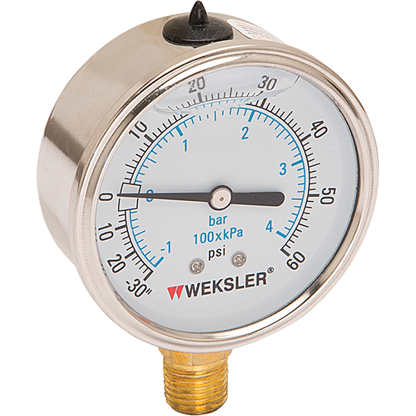 """2.5"""" and 4"""" standard liquid filled swimming pool gauges."""
