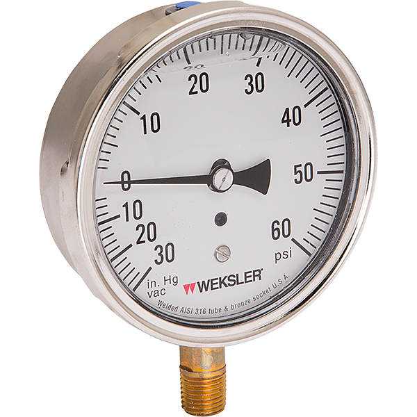 """2 1/2"""" and 3 1/2"""" heavy-duty liquid filled swimming pool gauges."""