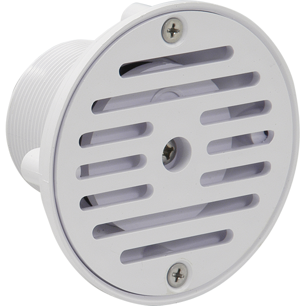 Adjustable, cycolac plastic swimming pool wall or floor inlet fitting.