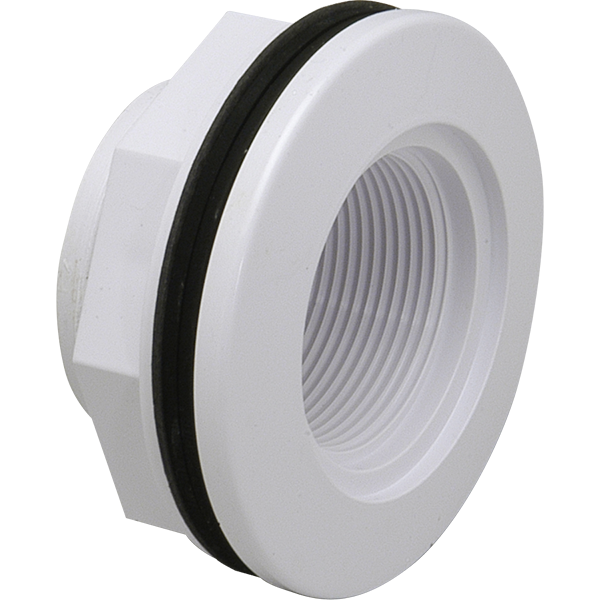 """PVC pool wall body fitting for fiberglass swimming pools. Fits 1 1/2"""" FIP connection."""