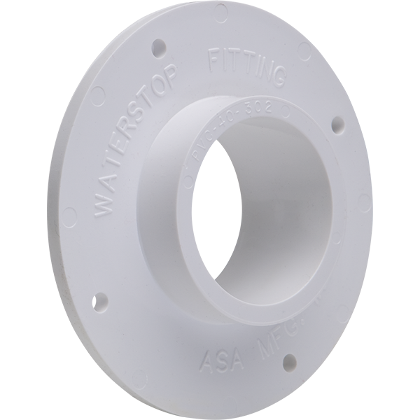 """2"""" schedule 40 PVC swimming pool waterstop fitting."""