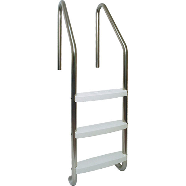 Standard pool ladder made of T-304 stainless steel tubing and polypropylene plastic steps.