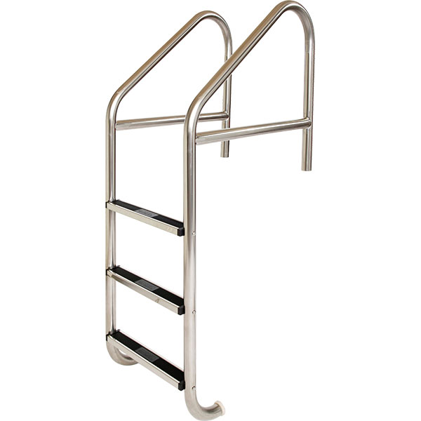 Cross-braced commercial swimming pool ladders with T-304 stainless steel tubing frame and stainless steel steps with plastic safety tread inserts.
