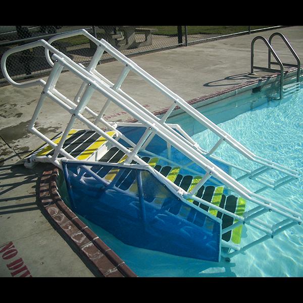 "AquaTrek2 ADA Compliant Steps custom swimming pool steps has a 24"" width between handrails, 7"" riser height, 12"" tread depth."