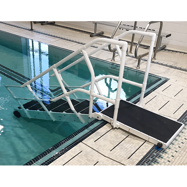 Aqua Step ADA swimming pool step system meet or exceed ADA guidelines for pool access for the disabled.