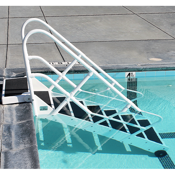 Aqua Step ADA swimming pool step system meets ADA guidelines for pool access for the disabled.