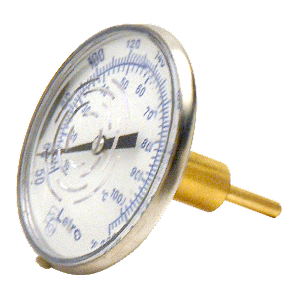 In-Line Dial Swimming Pool Thermometer with Brass Well