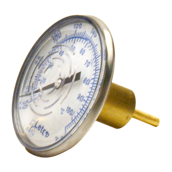 In-Line Dial Swimming Pool Thermometer with 0.75 inch Brass Sweat Well