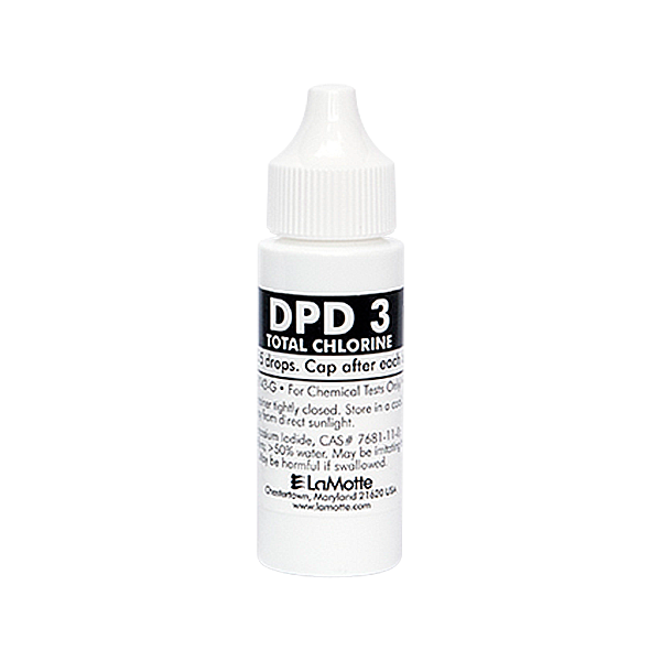 LaMotte Reagent Chlorine DPD 3 - 30 ml is a liquid reagent for swimming pool water testing. LaMotte Replacement Testing Reagent: P-6743-G