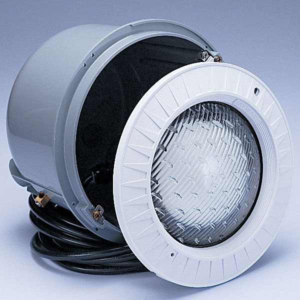 Hayward underwater swimming pool lights with thermoplastic face ring