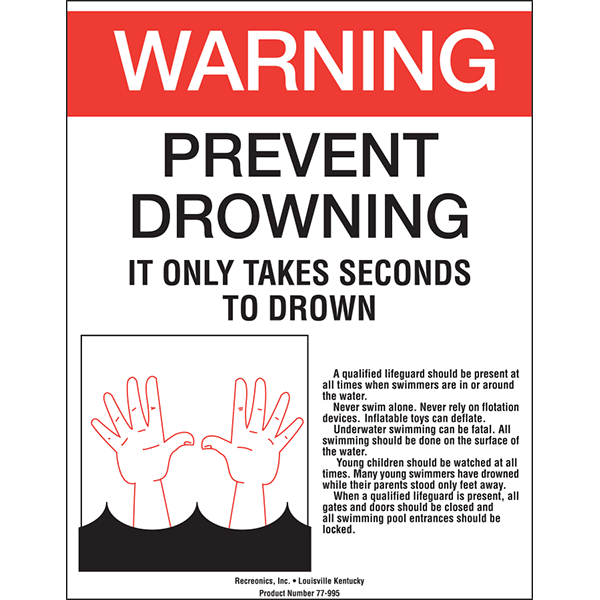 Warning Preventing Drowning Sign
