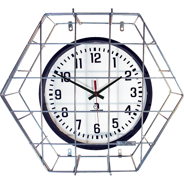 Wall Mounted Clock Wire Guard - Cage with Hinged Door