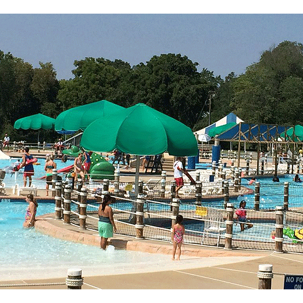 12' Funbrella Classic umbrella style shade structure is perfect where natural shade is not available and decorates swimming pools and recreational areas.