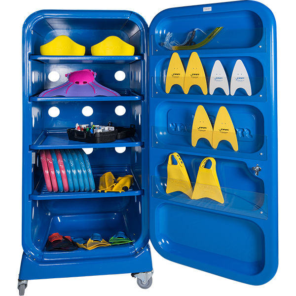 Deck Stor-A-Way ventilated swimming pool equipment storage unit.