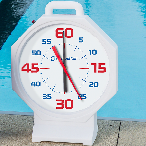 Competitor 15 inch White Body-White Face Battery Powered Pace Clock