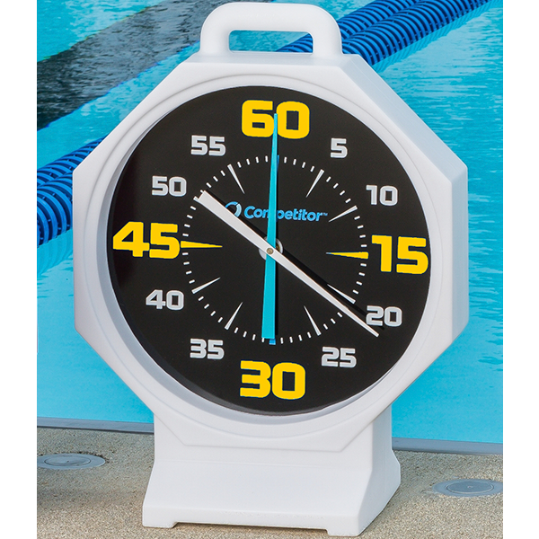 Competitor 15 inch White Body-Black Face Battery Powered Pace Clock