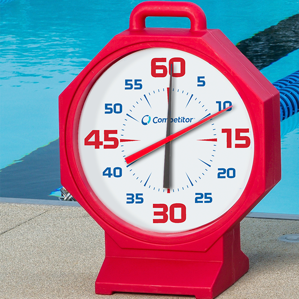Competitor 15 inch Red Body-White Face Battery Powered Pace Clock