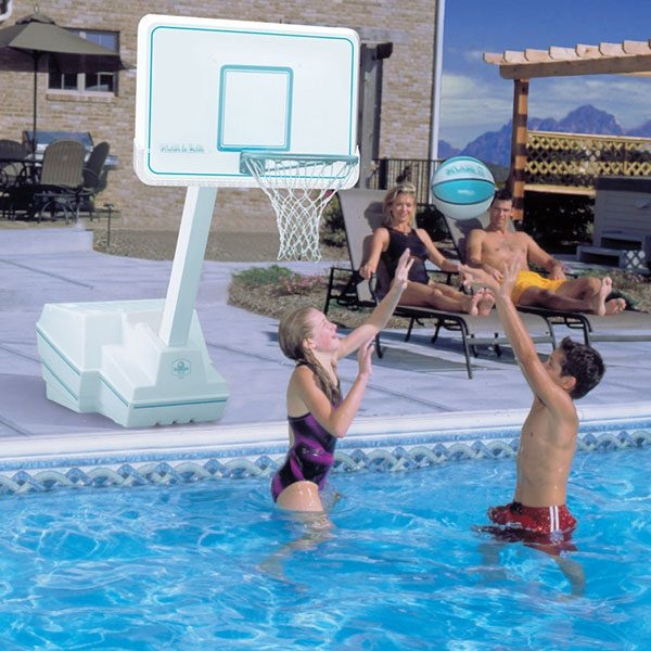Splash and Slam regulation swimming pool basketball game with white backboard.