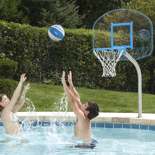 Deck-Mounted Regulation Acrylic Backboard Pool Basketball Game