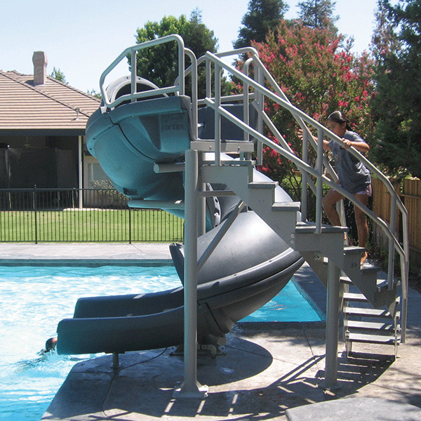 Vortex Full Tube Swimming Pool Waterslide With Staircase
