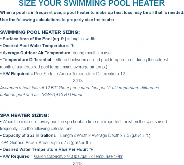 Sizing Your Coates Commercial Swimming Pool Heater