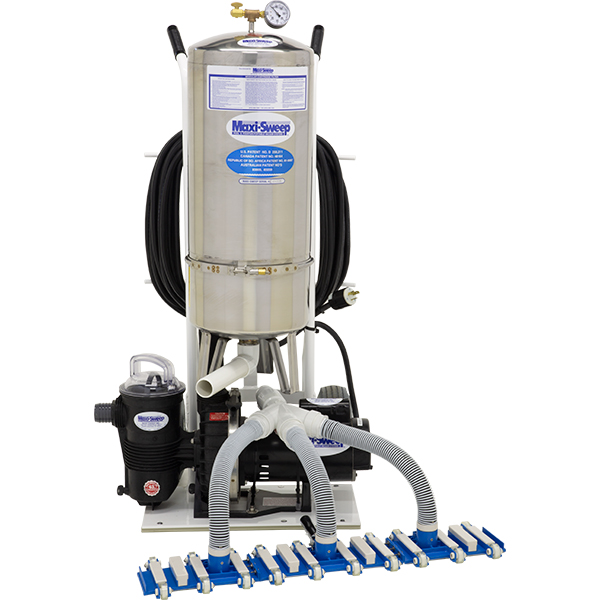 Maxisweep swimming pool vacuum cleaning systems saves water, chemicals and energy by filtering dirty water and returning clean water to the swimming pool. Ideal for backup filtration.