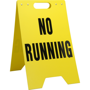 Yellow solid polyethylene free standing floor sign has the same message on both sides in black lettering. Available in twelve different messages.