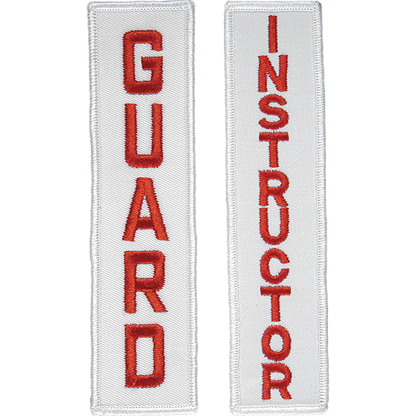 Swiss embroidered lifeguard and instructor patches feature bright red lettering on a white background and are ideal for affixing to swimsuits or jackets.