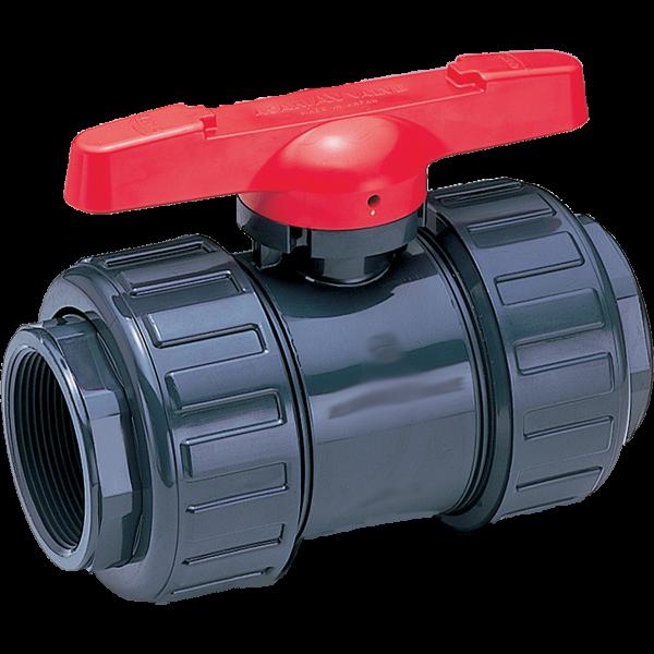 Asahi PVC true-union ball valves.