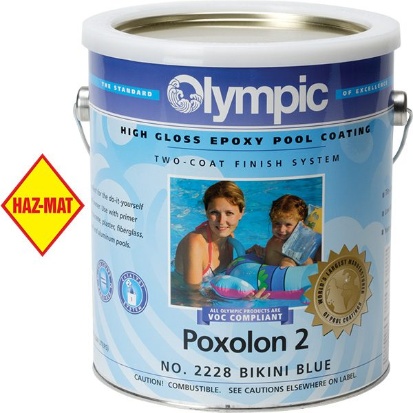 Olympic Poxolon 2 Epoxy Swimming Pool Paint is a high gloss 2-coat epoxy swimming pool coating that is easy to apply and lasts about five years.