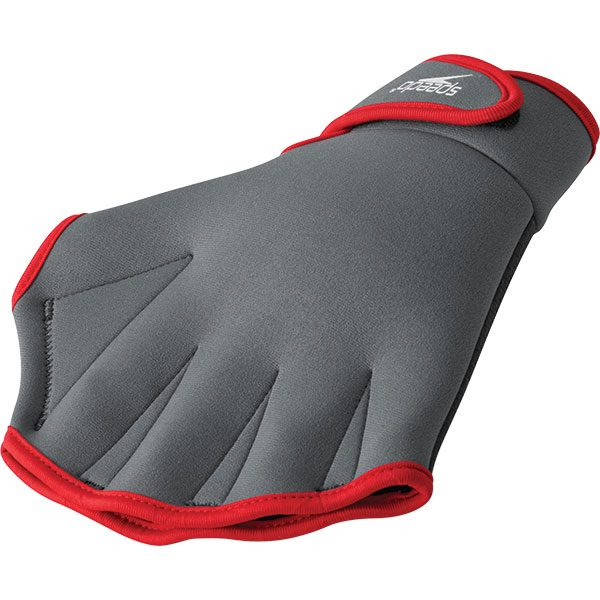 Speedo Webbed Neoprene Rubber Palm Aqua Fitness Gloves - Charcoal with Red Trim