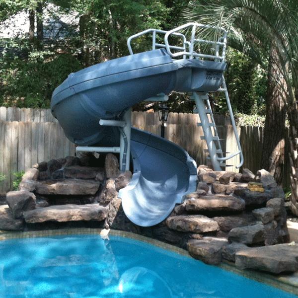 Vortex Half Tube pool waterslide with ladder in gray granite color.