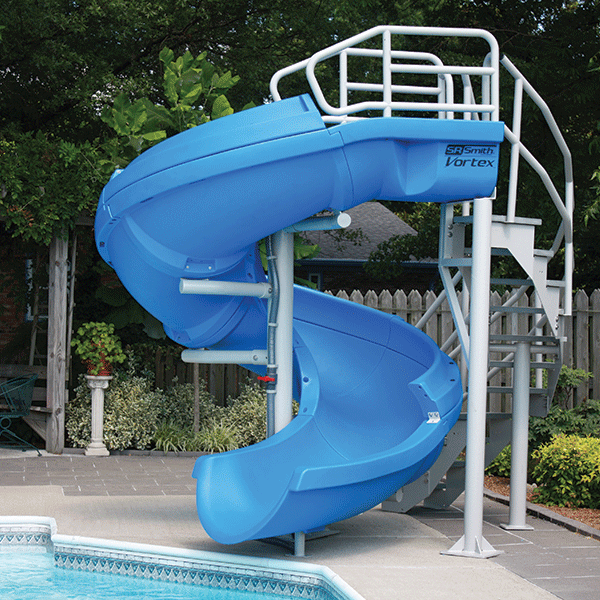 Vortex Half Tube pool waterslide with ladder in blue color.