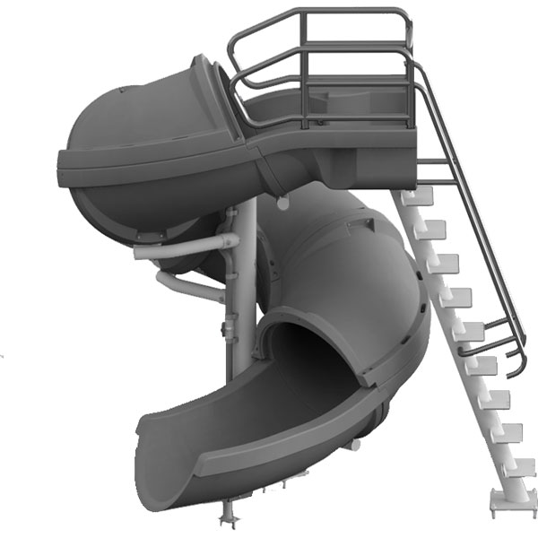 Vortex Full Tube swimming pool waterslide with ladder.