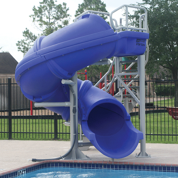 Vortex Full Tube swimming pool waterslide with staircase.
