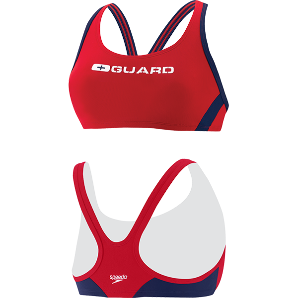 Speedo's women's Sport Bra lifeguard swim suit top is made of 51% PBT and 49% lightweight polyester fabric that resists snagging, sagging and fading.