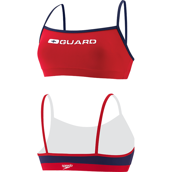 Speedo's women's This Strap lifeguard swim suit top is made of 51% PBT and 49% lightweight polyester fabric that resists snagging, sagging and fading.