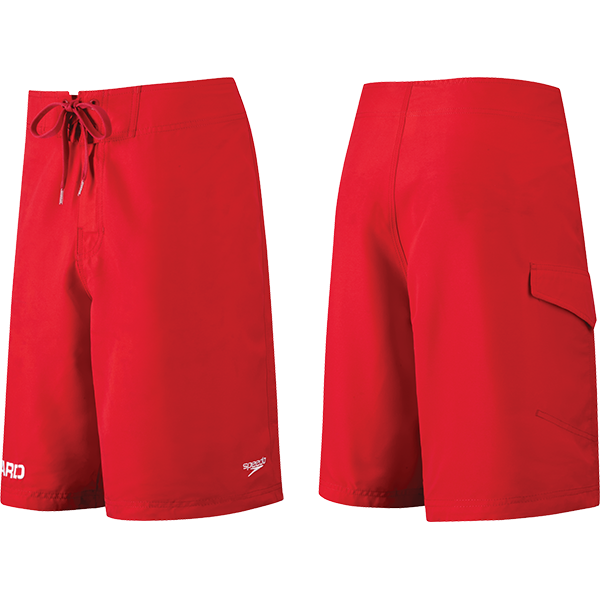 "Speedo's men's 21"" lifeguard Board short is made of Speedry that repels water and dries in record time and and has an outer side pocket."
