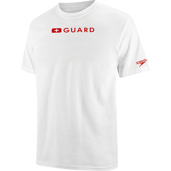 Speedo men's lifeguard t-shirt is 100% cotton and available in white in sizes S to XXL.