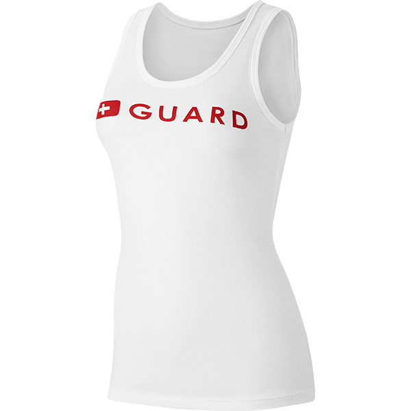 Speedo women's lifeguard tank top is available in white, in sizes S to XL.