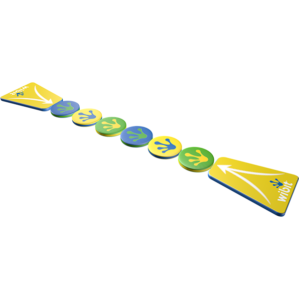 3-D rendering of Wibit Wiggle Bridge 6 Non-Modular stand alone inflatable play product.