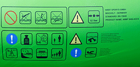 Graphical warning symbols printed direct on the inflatable clearly and quickly advise users and operators of load capacity, place of use, risk hazards, performance and other relevant safety information.