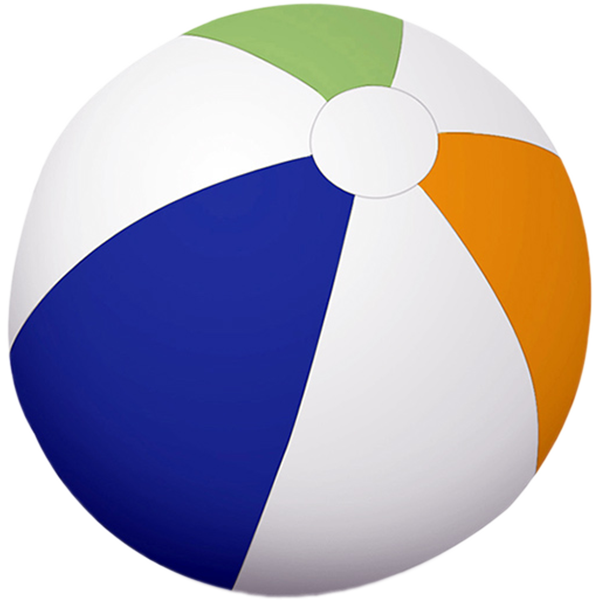 "24"" diameter Traditional Multi-Colored 6 Panel Beach Ball"