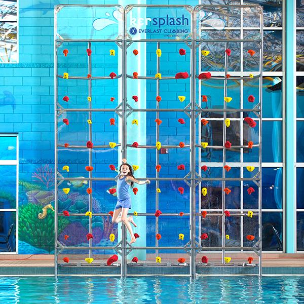 Crystal Clear Kersplash Pool Climbing Wall - 16\' t x 4\' w