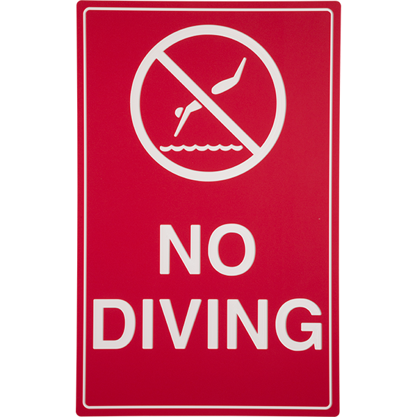 """12"""" w X 18"""" h heavy-duty plastic no diving sign has an engraved outer layer of red HDPE plastic, exposing the contrasting white core for the lettering."""