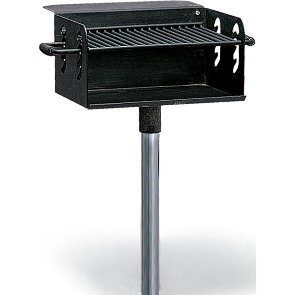 Pedestal Charcoal Grills : Vandal resistant pedestal park charcoal grill with shelf