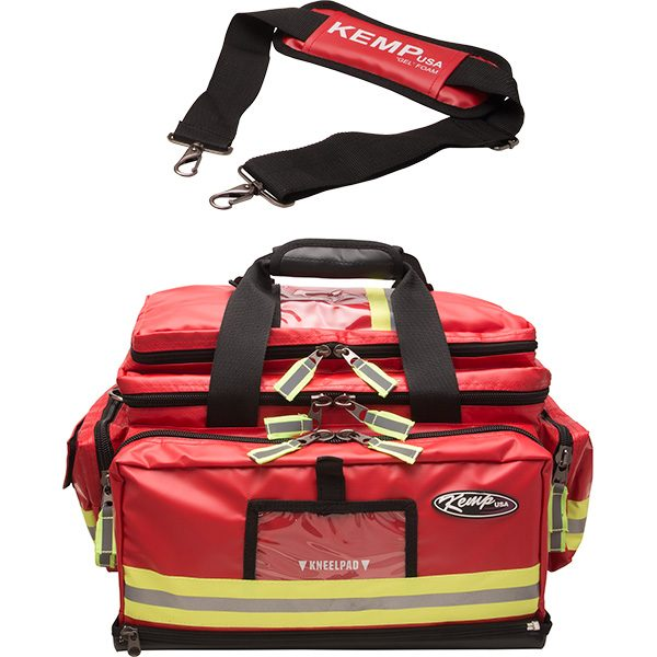 Kemp large professional EMS trauma bags for first responders are available in 600 and 1680 denier premium nylon and fluid resistant heavy-duty tarpaulin.