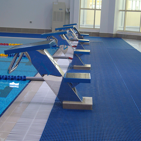 Heronrib HighTraffic Slip-Resistant Open-Grid Swimming Pool Matting with Anti-Microbial and Anti-Fungal Agents.