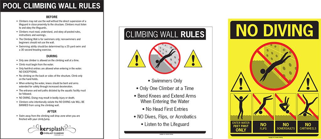 Kersplash Pool Climbing Walls Safety Signs