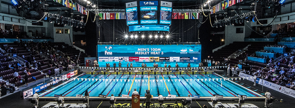 PEM Heavy Weight Aquatic Matting at the 2016 FINA Championships in Windsor, Ontario, Canada